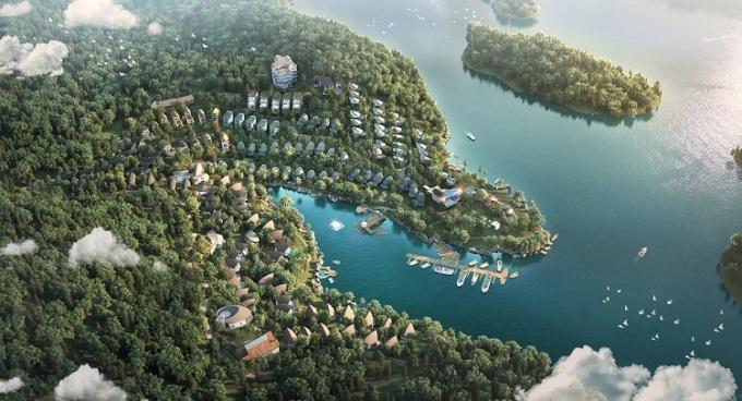 Phối cảnh Parahills Resort - dự án nghỉ dưỡng ẩn mình giữa biển hồ Hòa Bình.
