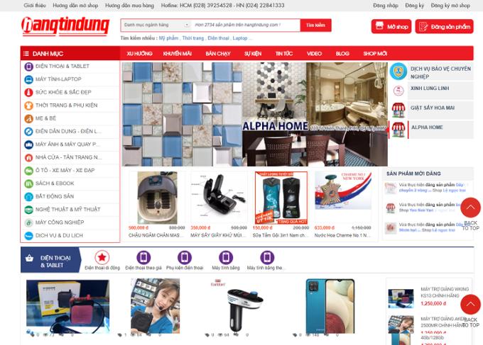 Giao diện sàn thương mại Hangtindung.com