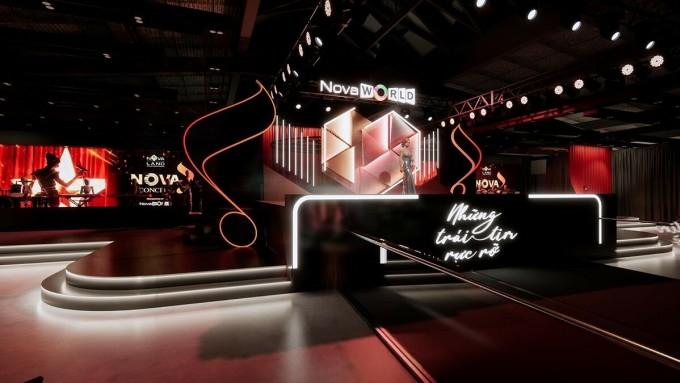 Điểm nhấn của chương trình còn nằm ở sân khấu Nova Concert được thiết kế giật cấp lạ mắt, không gian sang trọng, ấm cúng.