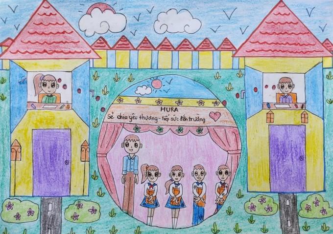 Bức vẽ của bé Vân Như (8 tuổi, Đồng Nai) mong góp tặng sách cho các bạn.