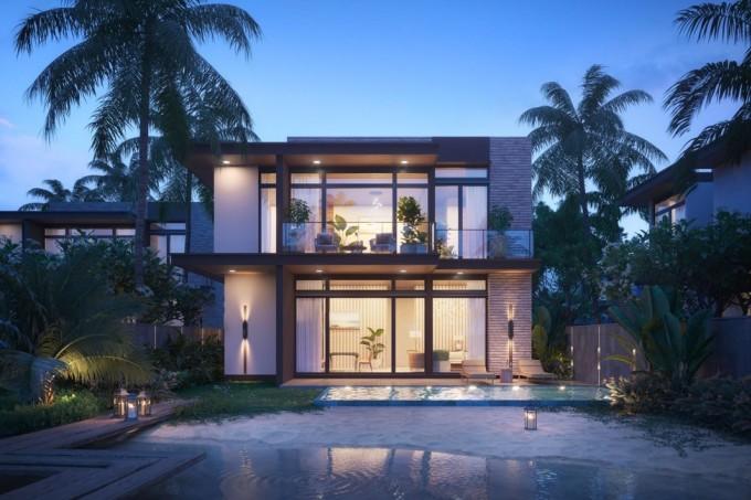 Phối cảnh biệt thự ba phòng ngủ với ý tưởng mang đại dương đến thềm nhà. Ảnh phối cảnh: IFF Holdings.