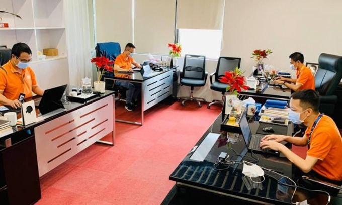 Một khoang làm việc tại FPT Software mùa dịch năm 2020. Ảnh: Thủy Minh.