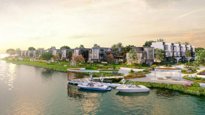 Không gian sống sinh thái gần gũi thiên nhiên ngày càng có sức hút lớn với cả giới đầu tư và an cư. Ảnh phối cảnh dự án Aqua City.