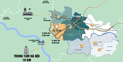 Từ Sơn nằm cách trung tâm Hà Nội 18 km.