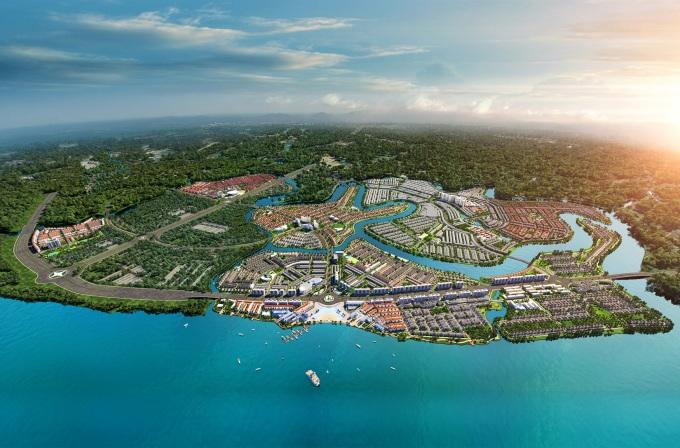 Khu đô thị sinh thái thông minh Aqua City được qui hoạch hiện đại, hoàn chỉnh tiện ích đáp ứng nhu cầu sống xanh tiện nghi của cư dân. Ảnh phối cảnh: Novaland.