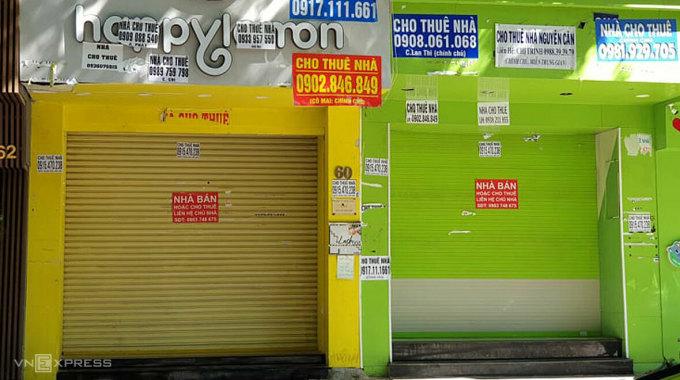 Nhà phố mặt tiền quận 1 đang rao cho thuê từ đầu năm 2020 đến nay. Ảnh: Minh Lê.
