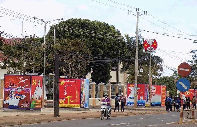 Trung tâm huyện Đak Đoa đang được tập trung phát triển, dần trở nên sầm uất.