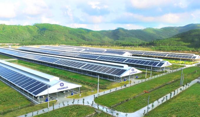 Trang trại Vinamilk Quảng Ngãi đã hoàn thiện và đưa vào hoạt động hệ thống năng lượng mặt trời. (Nguồn: Vinamilk