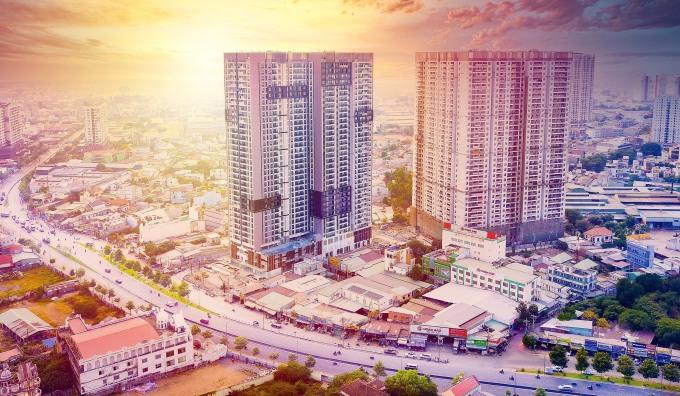 Dự án Opal Boulevard nằm trên tuyến đại lộ Phạm Văn Đồng, có quy mô hai tòa tháp 36 tầng. Ảnh: Tập đoàn Đất Xanh.