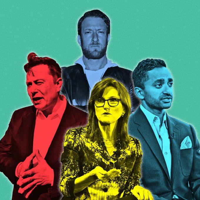 Những ngôi sao đầu tư mới, gồm Elon Musk, Cathie Wood, David Portnoy và Chamath Palihapitiya. Ảnh: WSJ.