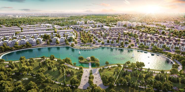 Phối cảnh tổng thể dự án EcoCity Premia nhìn từ phía hồ điều hòa