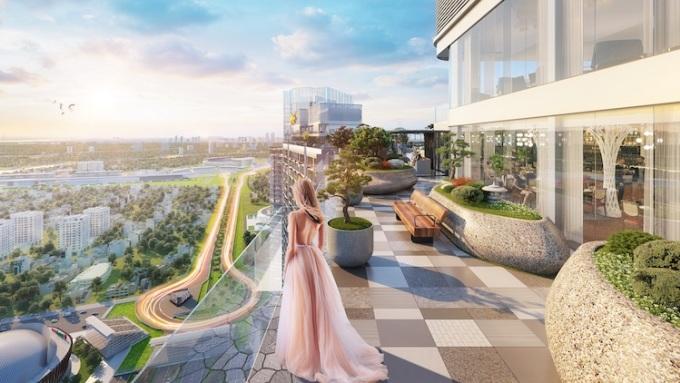 Phối cảnh vườn Nhật bình yên trên sân thượng tầng 43.