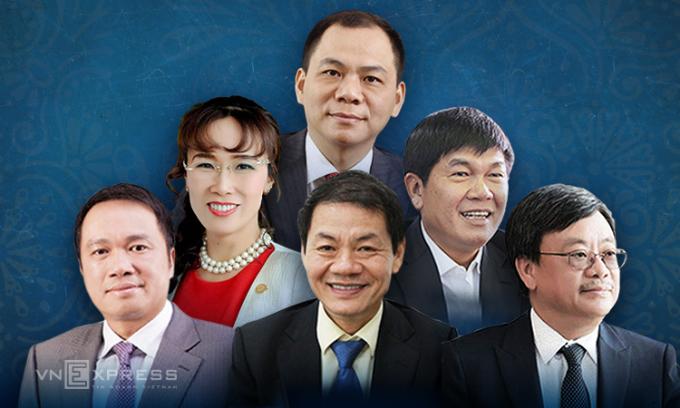 6 tỷ phú Việt Nam nằm trong danh sách của Forbes năm nay. Đồ họa: Tạ Lư