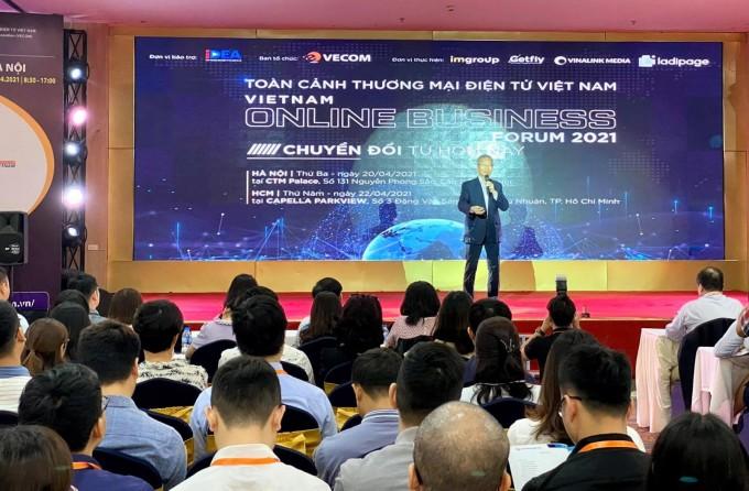 Ông Nguyễn Thanh Hưng - Chủ tịch VECOM phát biểu khai mạc diễn đàn VOBF 2021. Ảnh: VOBF.