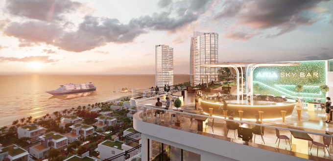 Sky Bar được thiết kế trên sân thượng khu căn hộ Aquamarine. Ảnh phối cảnh:Tập đoàn Danh Khôi.