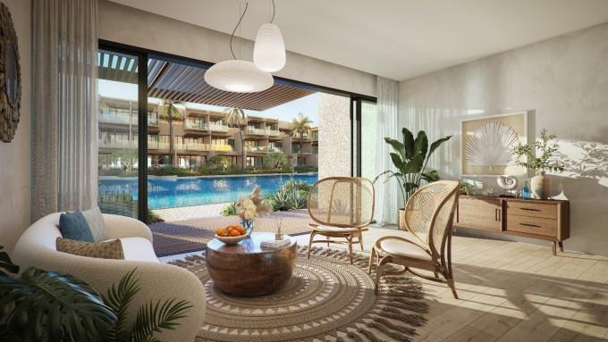 Phối cảnh phòng khách có tầm nhìn ra sân vườn với diện tích gần 1.400 m2 theo phong cách resort biển gồm sân vườn, hồ bơi, sân chơi... Ảnh: Nam Group.