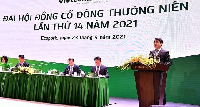 Chủ tịch Vietcombank phát biểu tại đại hội sáng 23/4. Ảnh: Vietcombank.