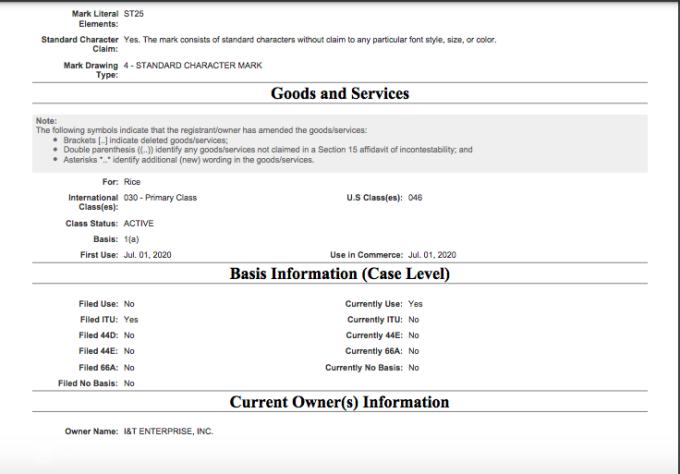 Hồ sơ của I&T Enterprise về nhãn hiệu ST25.