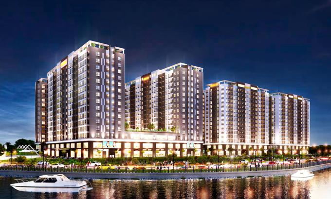 Phối cảnh dự án nhà ở xã hội Golden City (Tây Ninh) được Công ty Hoàng Quân chuyển nhượng cho Công ty Thành Phố Vàng.