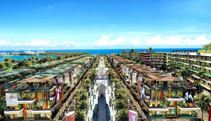 Khu shophouse Selashine có vị trí kề biển. Ảnh phối cảnh: TTC Phú Quốc.