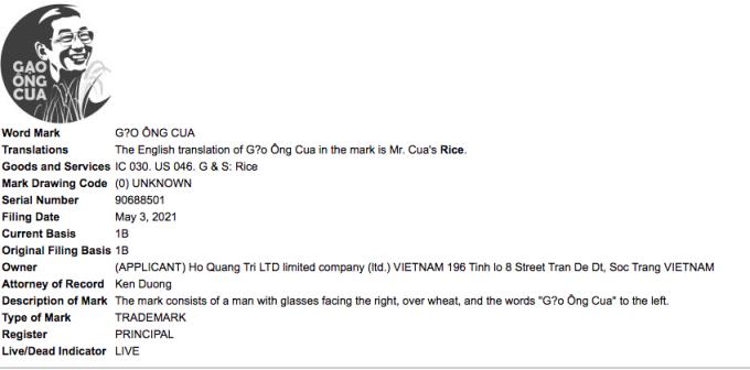 Thông tin về nhãn hiệu mới của nhà ông Hồ Quang Cua trên USPTO.