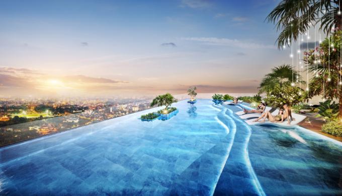 D-Homme đầu tư hồ bơi liên hoàn lớn hàng đầu TP HCM, nổi bật trong đó là hồ bơi vô cực cao trên độ cao 120 m tọa tại tầng 30 của dự án. Ảnh phối cảnh: DHA Corp.