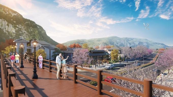 Phối cảnh cầu đi bộ phong cách Nhật tại dự án Sun Onsen Village - Limited Edition.