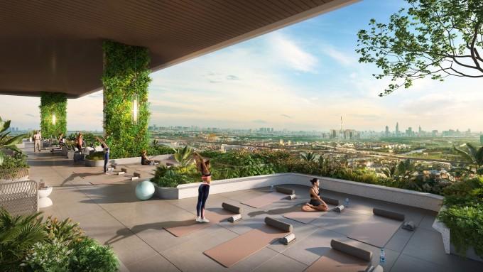 King Crown Infinity phát triển nhiều hạng mục tiện ích và không gian xanh đa tầng phục vụ cư dân. Ảnh phối cảnh: Đơn vị phát triển dự án BCG Land.