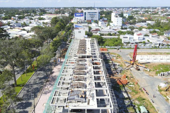 Dãy phố thương mại TNR Amaluna mặt tiền Võ Nguyên Giáp nhìn từ trên cao.