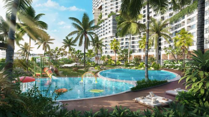 Được đánh giá là một trong những điểm đến đầu tư second home hàng đầu tại Bình Thuận, căn hộ biển Wyndham Coast mang đến cho khách hàng cuộc sống nghỉ dưỡng đậm chất xanh. Ảnh phối cảnh: Nam Group.