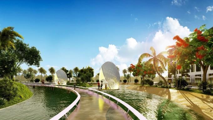 Công viên hồ tại dự án. Ảnh phối cảnh: Tân Á Đại Thành.