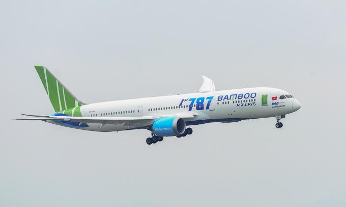 Một máy bay Boeing 787-9 của Bamboo Airways. Ảnh: FLC