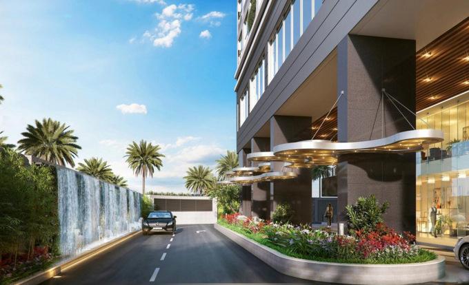 Phối cảnh sảnh đón như khách sạn 5 sao của một dự án căn hộ hàng hiệu tại quận 1, TP HCM.