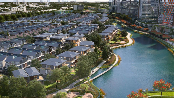 Dự án iD Junction ở trung tâm Long Thành (Đồng Nai) với ba mặt giáp sông hồ và toàn bộ nhà song lập, ba mặt sáng, thoáng tự nhiên. Ảnh phối cảnh: Tây Hồ Group.