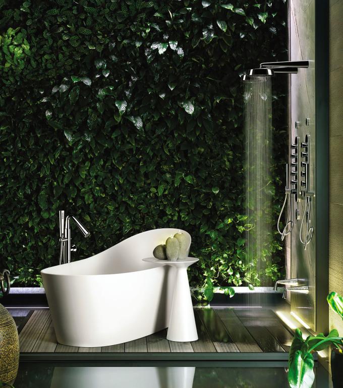 Không gian thiết bị vệ sinh với thiết kế gần gũi với thiên nhiên.