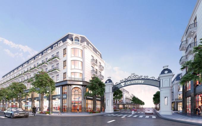 Phối cảnh dự án CIC-Luxury tại trung tâm TP Lào Cai với dòng sản phẩm shophouse cao cấp.