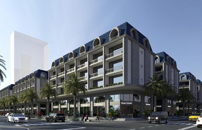 Chủ đầu tư kỳ vọng shophouse An Cựu City sẽ trở thành trung tâm mua sắm mới của thành phố Huế. Ảnh phối cảnh: IMG Huế.