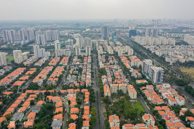 Bất động sản khu Đông TP HCM nhìn từ trên cao. Ảnh: Quỳnh Trần.
