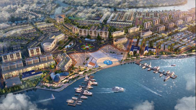Aqua City kỳ vọng kiến tạo thành phố trên bến, dưới thuyền hàng đầu khu vực phía Đông TP HCM. Ảnh phối cảnh: Novaland.
