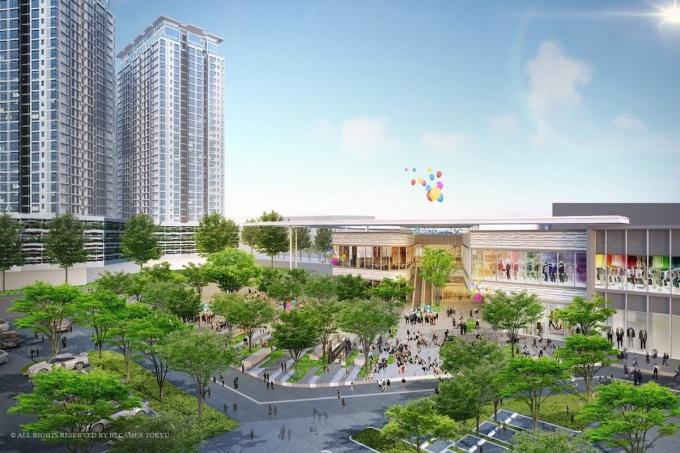 Trên đường dẫn vào Thành phố mới Bình Dương xuất hiện nhiều dự án thu hút cư dân. Ảnh: Sora garden II