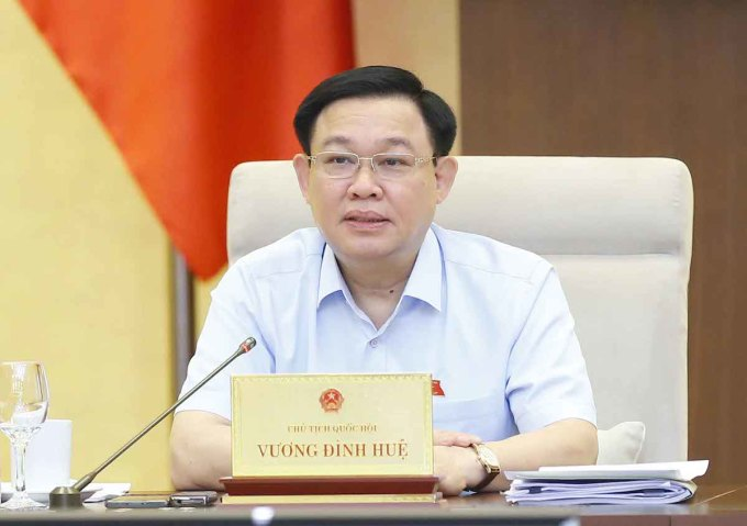 Chủ tịch Quốc hội Vương Đình Huệ chủ trì phiên họp ngày 13/7 của Uỷ ban Thường vụ Quốc hội. Ảnh: Chung Thành