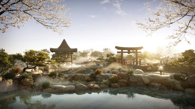 Suối khoáng nóng trong dự án Swanlake Residences. Ảnh: Ecopark.