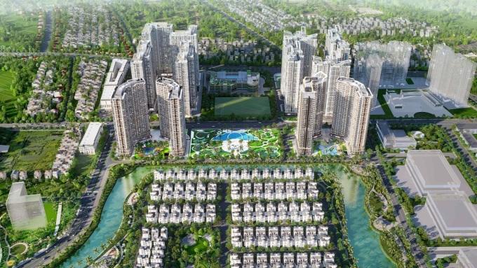 Phối cảnh The Ocean View với 12 tòa căn hộ, một mặt tiếp giáp con đường trung tâm huyện Gia Lâm, một mặt ôm trọn tầm nhìn hồ Đảo Cọ.