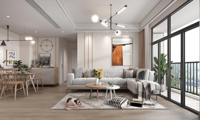 Phối cảnh căn hộ chung cư phân khúc trung cấp khu vực nội thành.