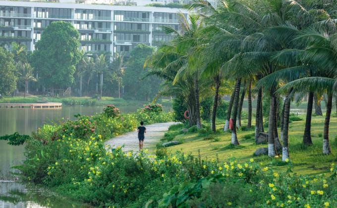 Những khu đô thị có không gian xanh thu hút nhiều gia đình.