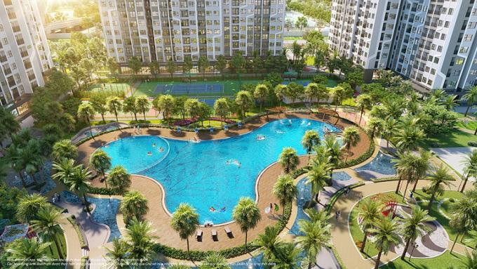 Phối cảnh hồ bơi rộng hơn 1.000m2 toà GS1 dự án Vinhomes Smart City