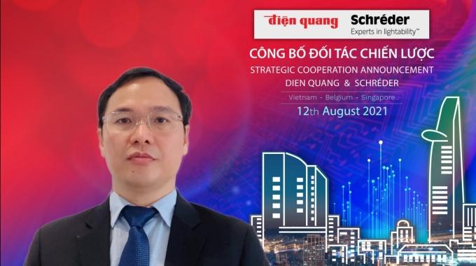 Ông Hồ Quỳnh Hưng - Chủ tịch HĐQT Điện Quang chia sẻ trong buổi công bố hợp tác chiến lược giữa Điện Quang và  Schréder. Ảnh: Điện Quang