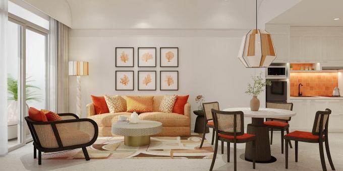 Căn hộ The Hill được bàn giao hoàn thiện nội thất theo phong cách Santorini