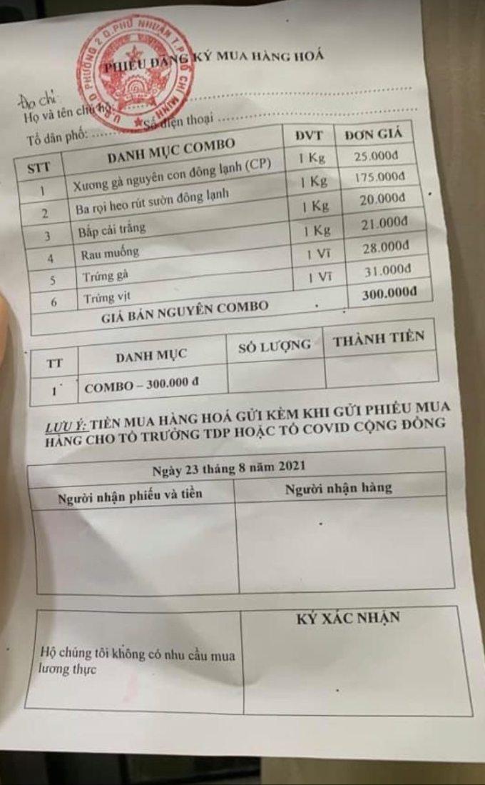 Phường 2, quận Phú Nhuận chỉ có một combo duy nhất để người dân mua hàng. Ảnh: Nhân vật cung cấp