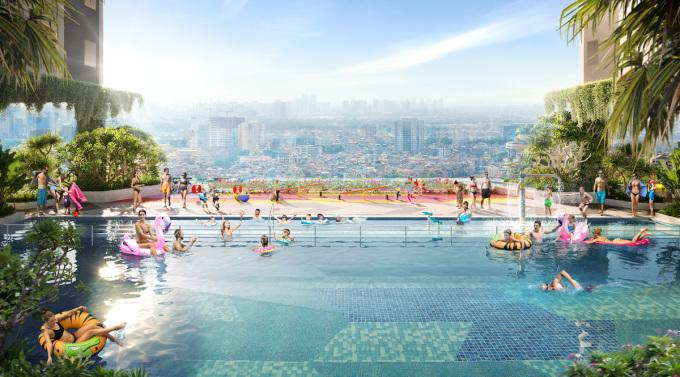 Hồ bơi sky pool tại tầng 5 của dự án Moonlight Centre Point mang lại nhiều trải nghiệm mới lạ cho cư dân. Ảnh Hưng Thịnh Land